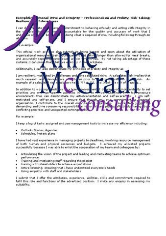 Management - Exemplifies Personal Drive and Integrity – Professional Resumes @ Anne McGrath Consulting