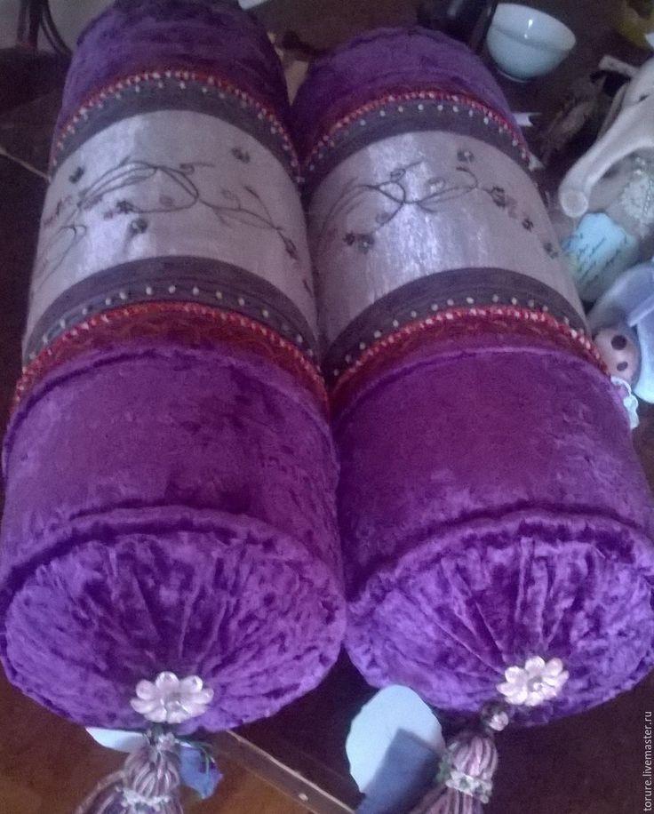 Купить Подушки- валики - тёмно-фиолетовый, подушки- валики, Этнический стиль, бархат, вышивка
