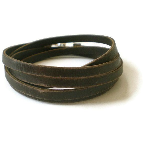 brown leather wrap bracelet unisex distressed by jcudesigns, £13.00