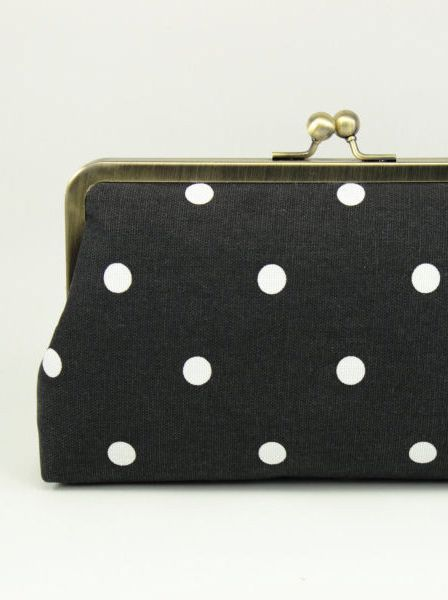 Polka Dot Clutch / Black & White Clutch