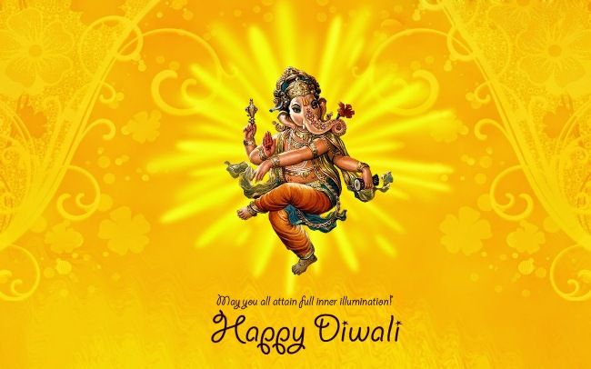 happy diwali with ganesha and quotes card hd images