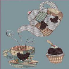 Kit de Patchwork Juego de té y magdalena