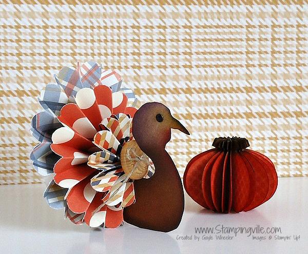 Fall Papercrafting: 3-D paper turkey and pumpkin