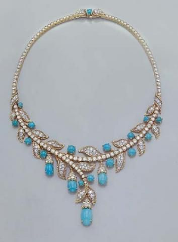 Turquoise and Diamond Necklace for Sale at Auction on Wed, 04/12/2006 - 07:00 - Important Estate Jewelry | Doyle Auction House