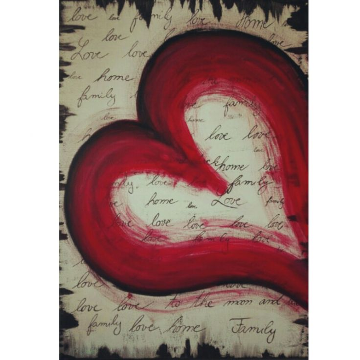 Heart, love, family, home, to the moon and back, painting