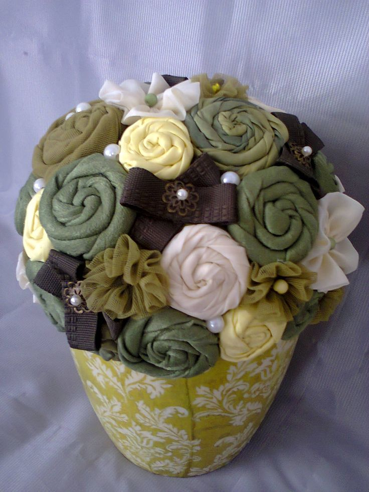 Green fabric flowers