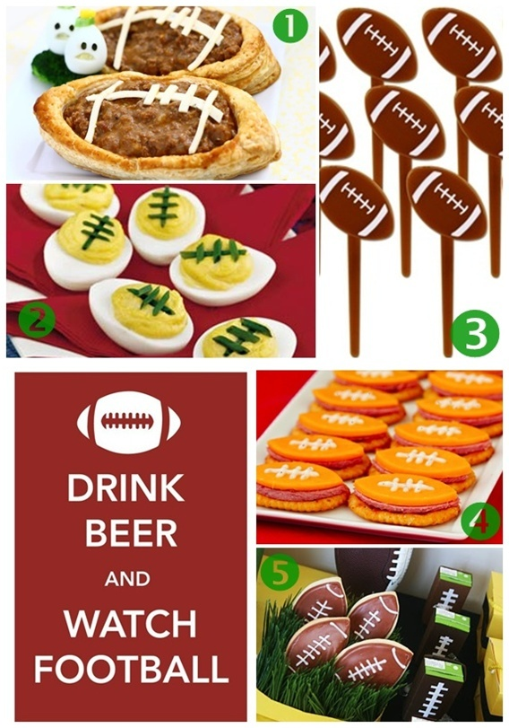 #1 Football Meat Pies # 2 Football Deviled Eggs #3 Football Food Picks. #4 Easy Crackers and Cheese #5 Football Cookies and covered Juice Boxes And Everything Sweet
