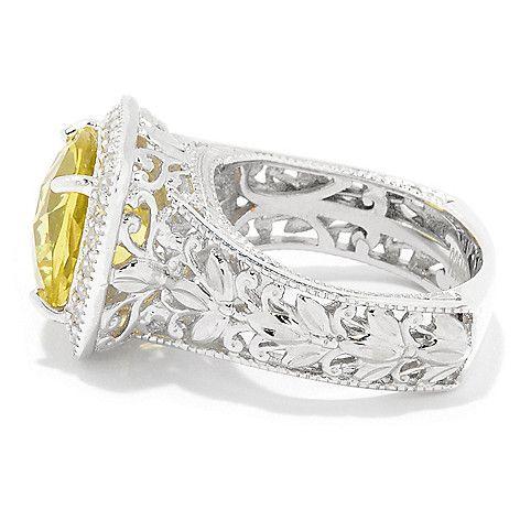 161-245 - Gems en Vogue 4.68ctw Ouro Verde & White Zircon Diamond Cut Halo Ring
