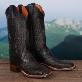Lucchese Ladies' Black Hornback Caiman Boots