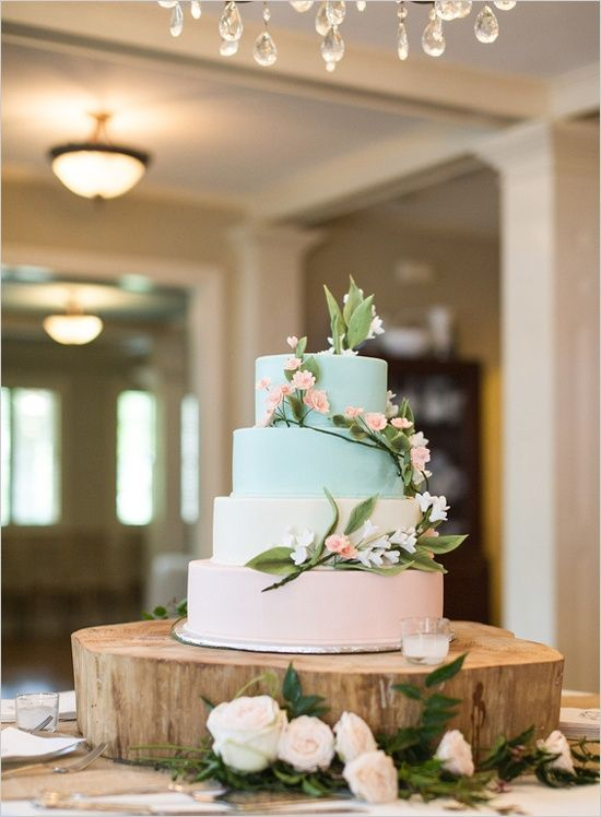 Four Tier green ombre with floral vines