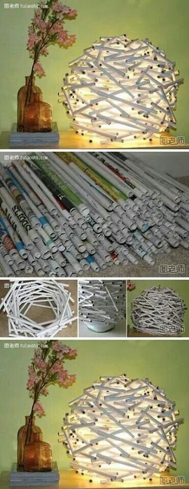 Newspaper lamp. Can do!