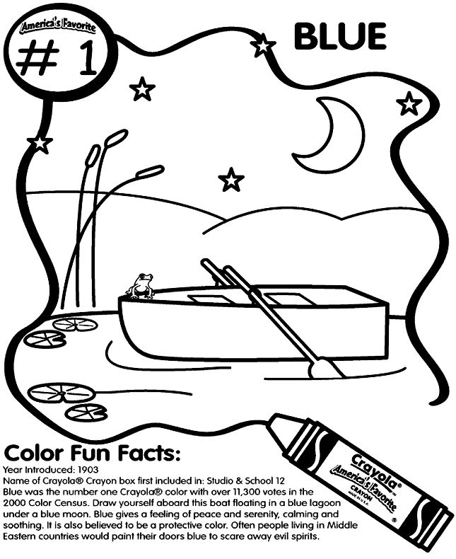 Americas Most Favorite Crayon Is Blue Fill In This Coloring Page With The Popular Color