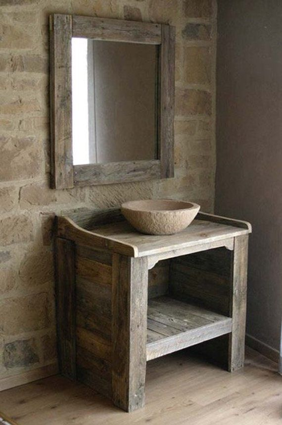 BATHROOM CABINET made from recycled pallet wood with imitation stone ...