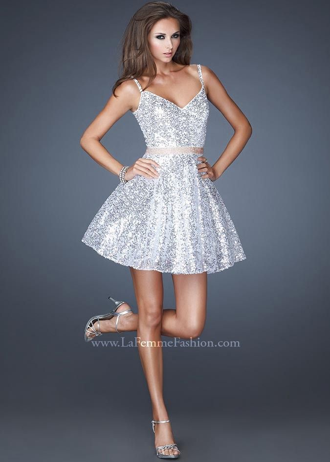 Super Sparkly White Sequin Graduation Dress - La Femme 18941 Cocktail Dress  - RissyRoos.com  4c943c71e1f9