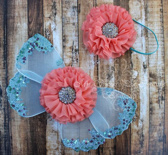 Coral Reef Aqua Butterfly Wing Set Newborn by MySweetPeaCouture, $22.95