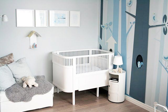 Love the colors in this room! Could use gray and white as the main colors and touches of pink or blue for boy or girl.