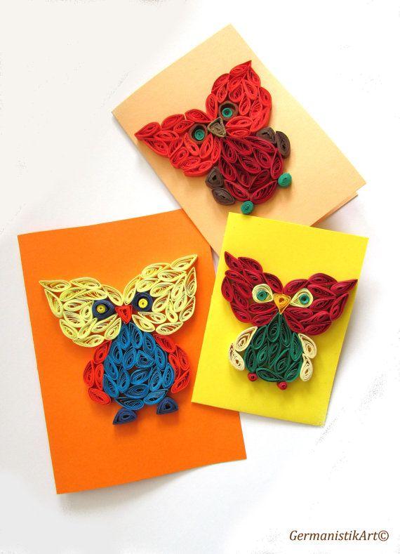 Buho Encañonado Set de 3 enclavijada tarjetas de papel, tarjeta de felicitación hecha a mano de búho en colores cálidos