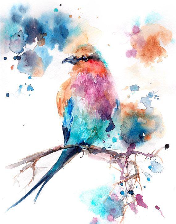 Lilac Bird Art Print Bird Watercolor Painting Print Bird Bird