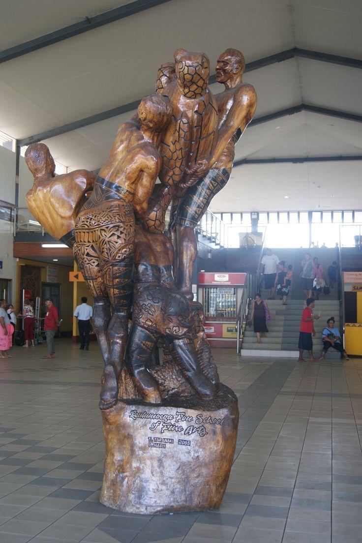 #Travel:  Wooden sculpture, Faleolo International Airport, Apia, Upolo, #Samoa.   Photo Credit: Dawne Rudman