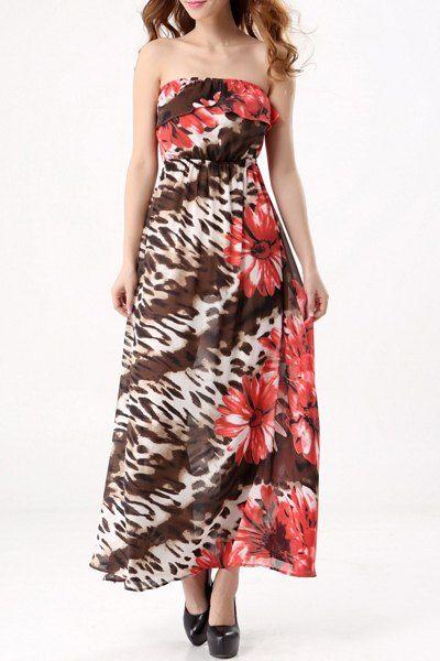 Bohemian Style Floral Print Strapless Maxi Dress For Women #men, #hats, #watches, #belts, #fashion