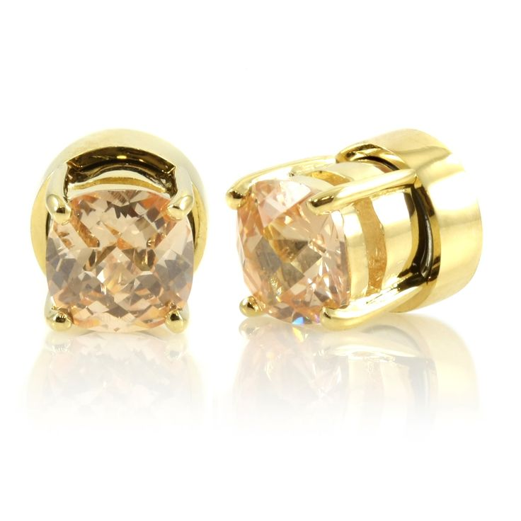 Goldtone Champagne Cz Non Pierced Magnetic Earrings