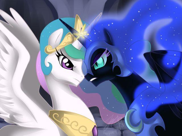 Princess Celestia Vs Nightmare Moon Love My Little Pony Celestia Moonlove Nightmare Pony My Little Pony Princess Little Pony My Little Pony Coloring
