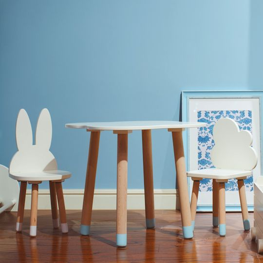 wooden kids table and chairs set