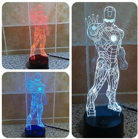 Iron Man 3D illusion night light