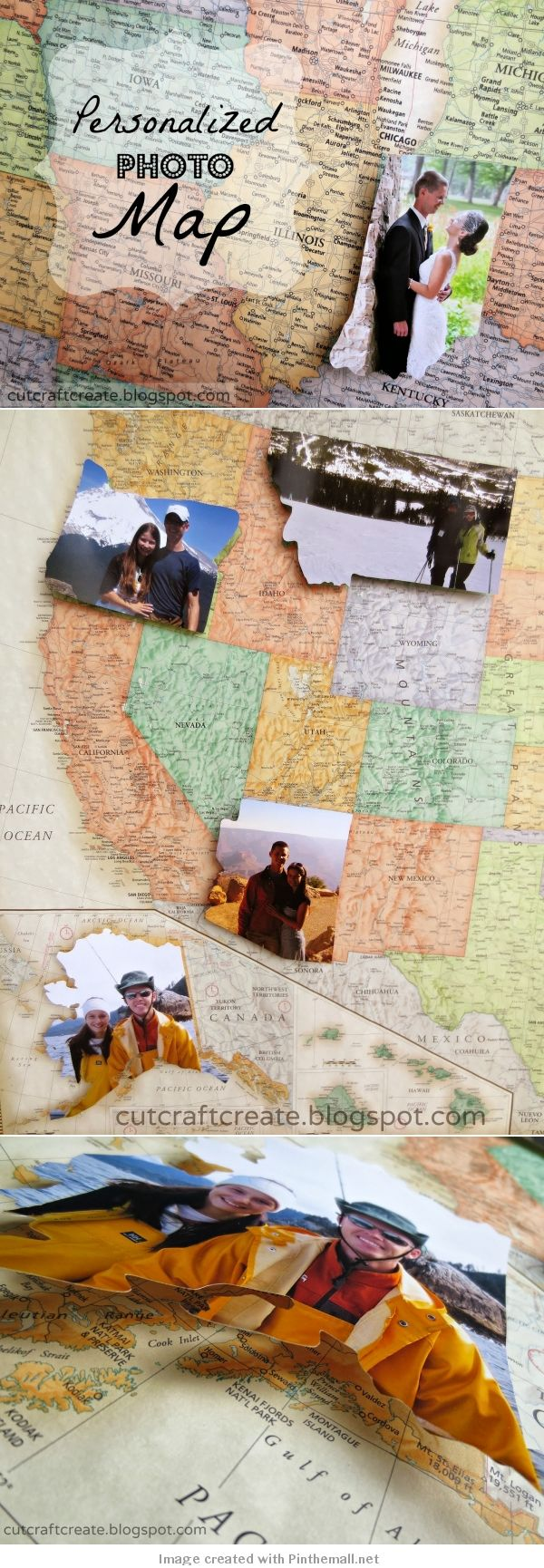 DIY Photo Travel Map to Commemorate All the Places Youve Traveled to. Very Awesome.