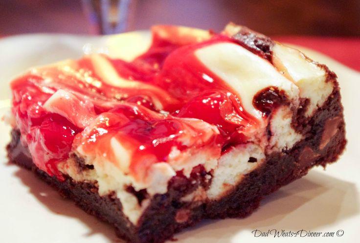 Cherry Marbled Cheesecake Triple Chocolate Brownies via @dadwhats4dinner