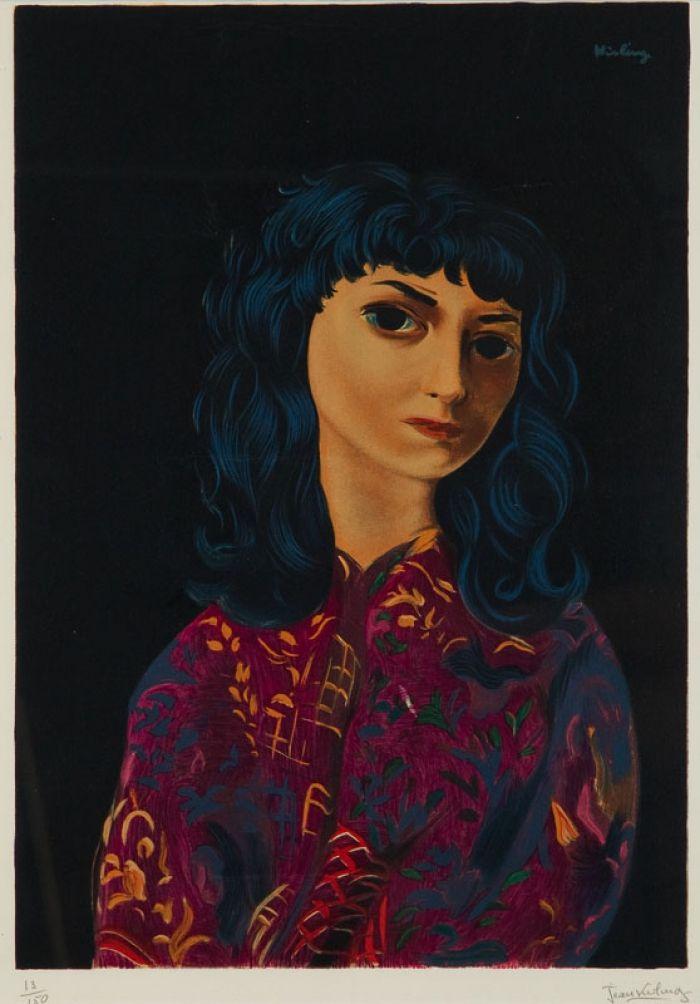 Mojżesz (Moise) Kisling - Portret brunetki, litografia
