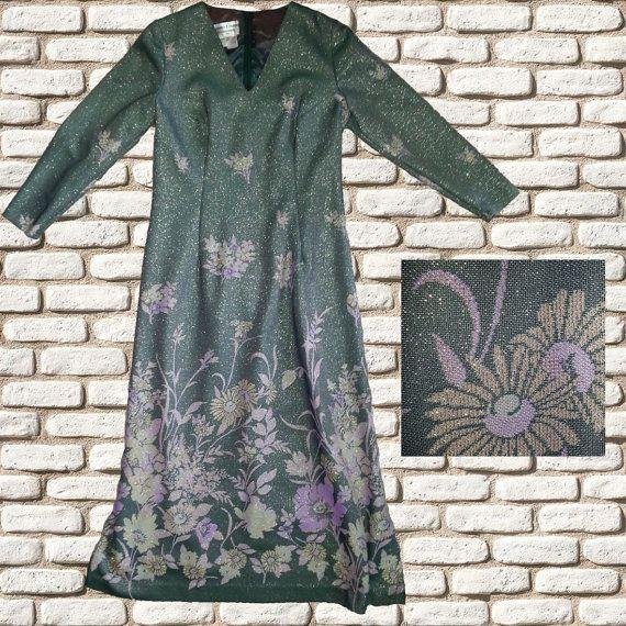 Grey and Metallic Maxi Dress with Purple Flower by BessieMidge, £30.00