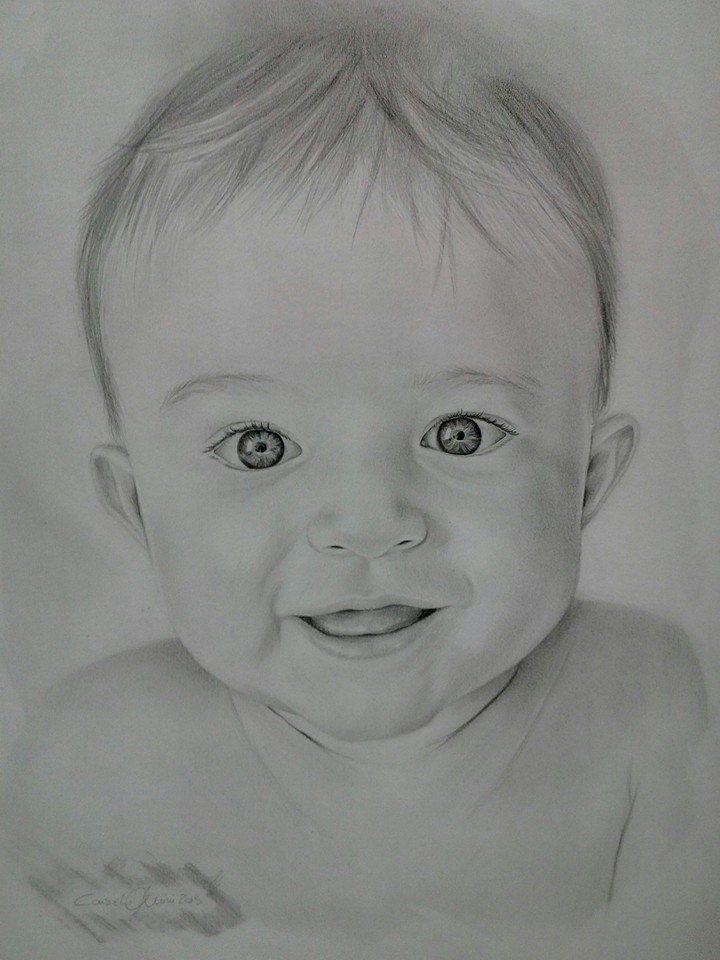 Regalo ad una nuova mamma. Ritratto a matita su commissione. Clicca per ordinare il tuo ritratto