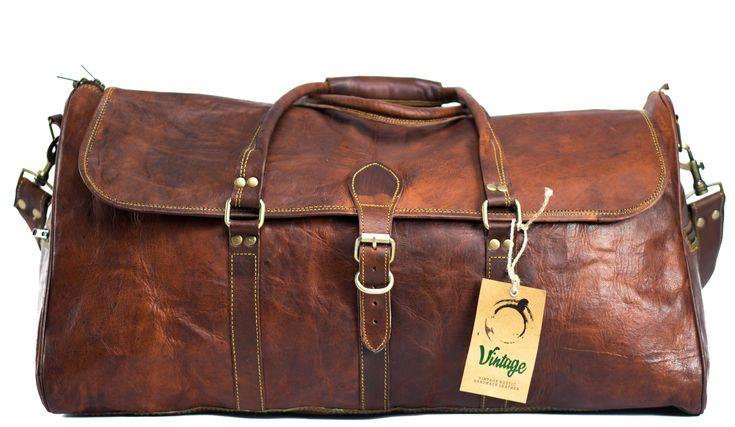 Vintage Handmade Leather Perth Military Style Duffle Bag Weekender Bag - Vintage Leather