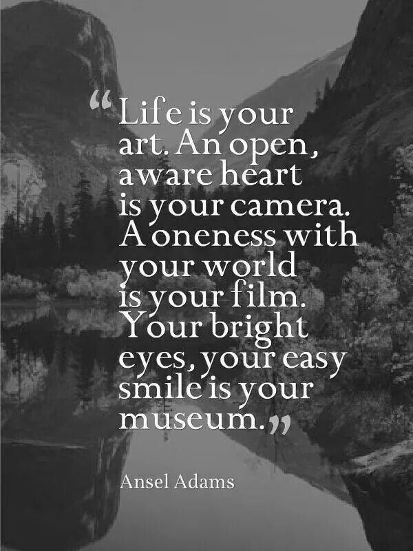 Life is your art. An open, aware heart is your camera. A oneness with your world is your film. Your bright eyes, your easy smile is your museum. ~ Ansel Adams