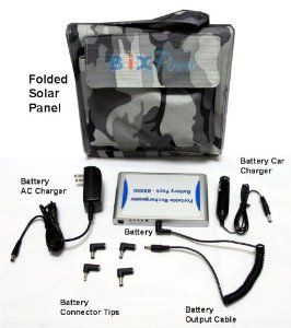 BiXPower 5V High Capacity (13,600mAh) Battery with 14-Watt Solar Panel Power Kit - BX550SP14S by BiXPower. $199.95. Power and charge your iPad, iPhone and other electric devices anywhere anytime with this super  high capacity (49 Wh, or 13600mAh) BX550  5V external battery.  The battery can power a iPad for about 20 hours after fully charged. It can be recharged in home and office from wall 100V ~ 240V AC power source, or in a car  from car cigarette socket, and anywhere from th...