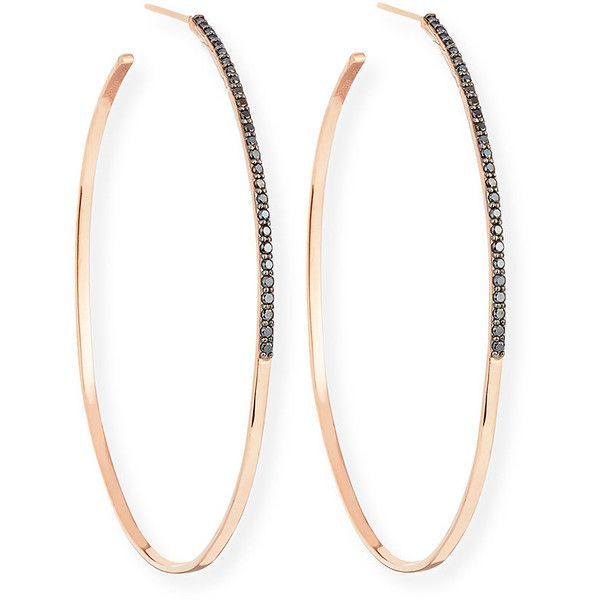 Lana Reckless Vol. 2 Large Femme Hoop Earrings with Black Diamonds in... ($1,645) ❤ liked on Polyvore featuring jewelry, earrings, jewelry earrings, rose gold, pink gold earrings, black diamond hoop earrings, 14k earrings, 14k hoop earrings and 14 karat gold earrings