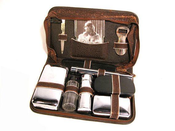Vintage Men's Travel Case Leather Dopp Kit by SproutVintage, $20.00