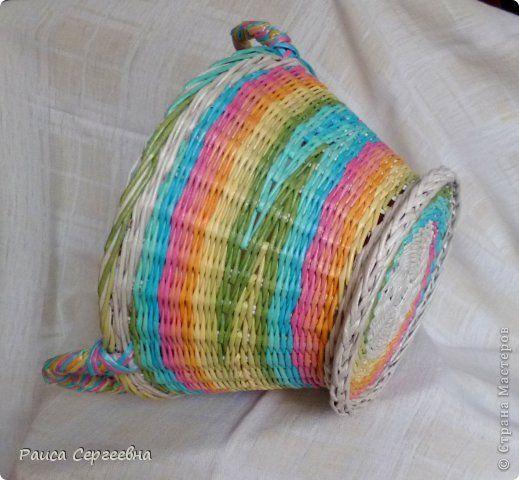 Поделка изделие Плетение Зимняя радуга Трубочки бумажные фото 1