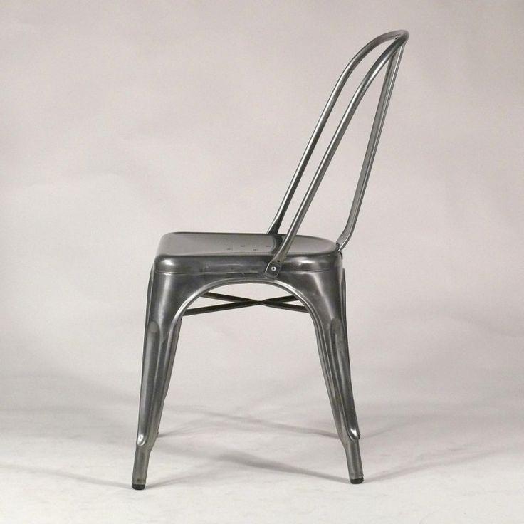 Industrial Design Stuhl Vintage Look. Gun Metal Finish Metall Stuhl Ist  Echt Retro Für Gastro Und Zuhause. Online Versandkostenfrei Ab