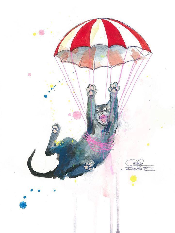 Parachute cat by lora zombie framed print 50 x 70 matt blatt