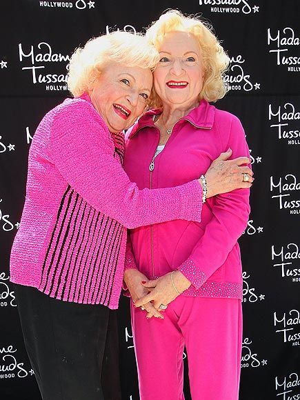 PINK ON WHITE  Betty White learns to embrace her true self as she comes face-to-face with her new wax statue at Madame Tussauds in LA