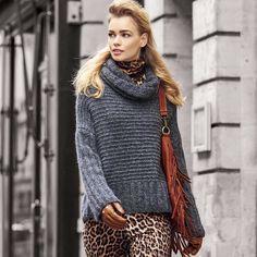 Описание вязания на спицах свитера с узорами в резинку из журнала «Verena. Спецвыпуск» №4/2015