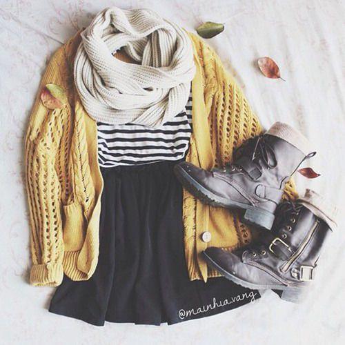 Black skirt, black and white stripped shirt, light mustard cardigan, cream infinity scarf, black combat booties