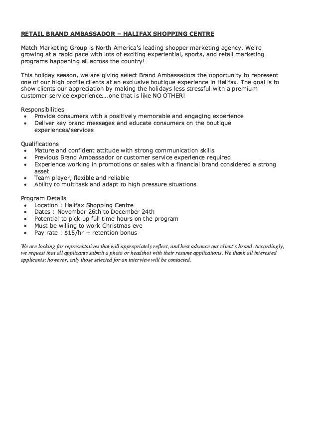 Retail Brand Ambassador Job Description Resume - Http