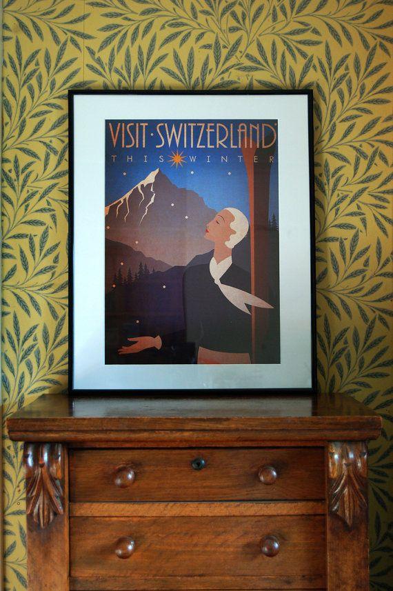 Original Design A3 Art Deco Bauhaus Poster Print Vintage Visit Switzerland Winter Ski Holiday Snow Mountains The Swiss Alps 1920's Vogue. £12.50, via Etsy.