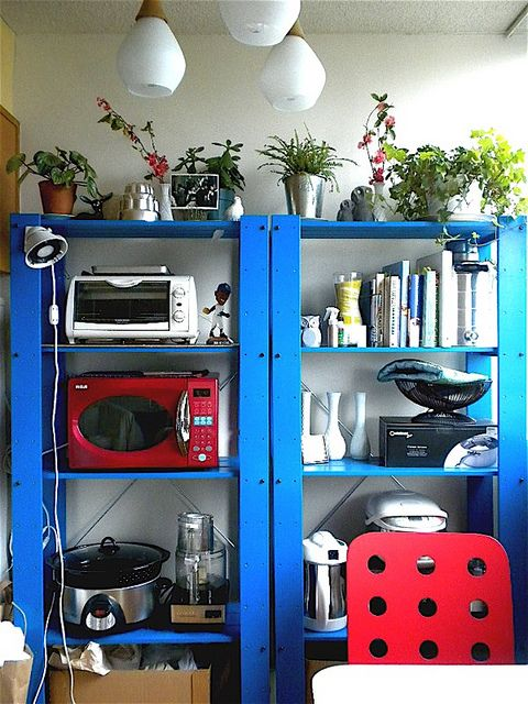 ikea gorm shelves, painted blue
