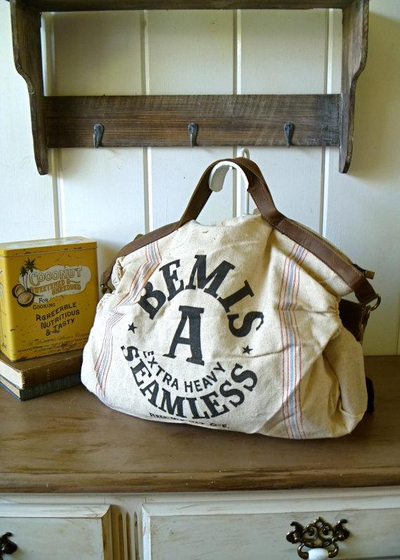 Vintage Bemis Seed Feed Sack Messenger Bag