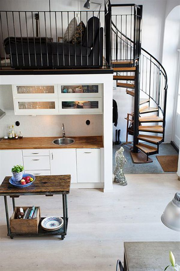 Nordic meets industrial in a small loft - if we end up reconfiguring our mezzanine we could do something like this?