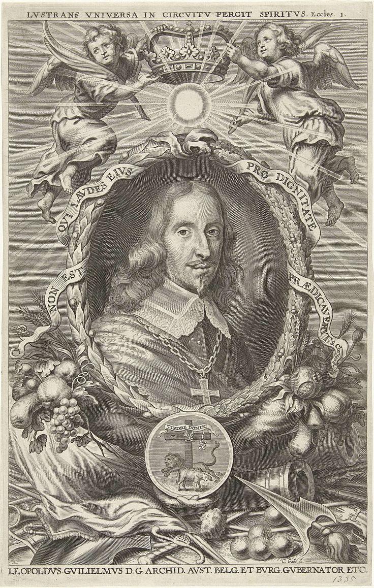 Cornelis Galle (II) | Portret van Leopold Willem, aartshertog van Oostenrijk, Cornelis Galle (II), 1638 - 1678 | Portret van Leopold Willem, aartshertog van Oostenrijk, landvoogd van de Zuidelijke Nederlanden, in een ovale krans van eiken- en laurierbladen. Twee engelen houden een kroon boven zijn hoofd. Onder het portret een wapen met zijn motto en oorlogswerktuigen.